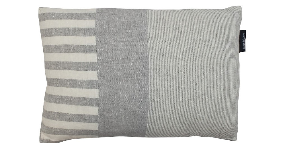 Rectangular cushion with horizontal off white and grey stripe to left side, 2 vertical  stripes in 2 grey colours. grey back