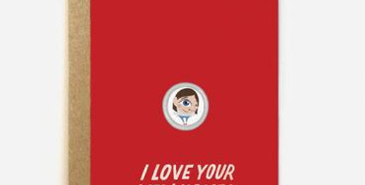 Red new home card with cartoon visitor looking through peephole and words I love your new home