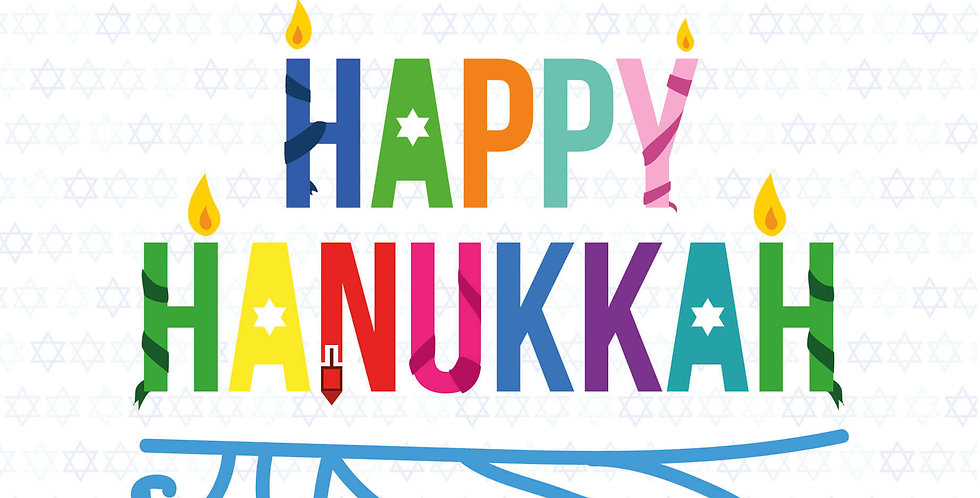 Hanukkah card with word happy hanukkah in bold and bright colours
