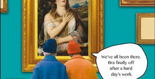 Funny birthday card or general card with old women looking at artwork feel better when bra is off