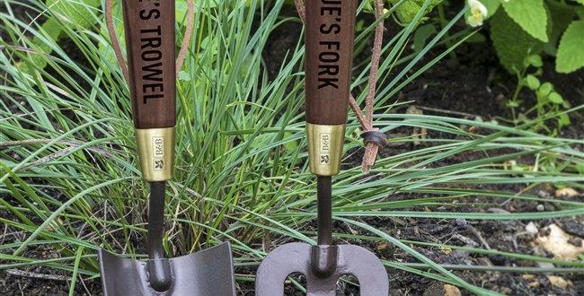 personalised gardeing trowel and fork set