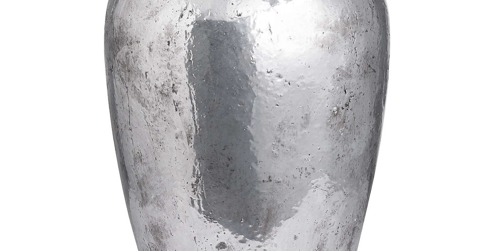 tall silver metallic vase