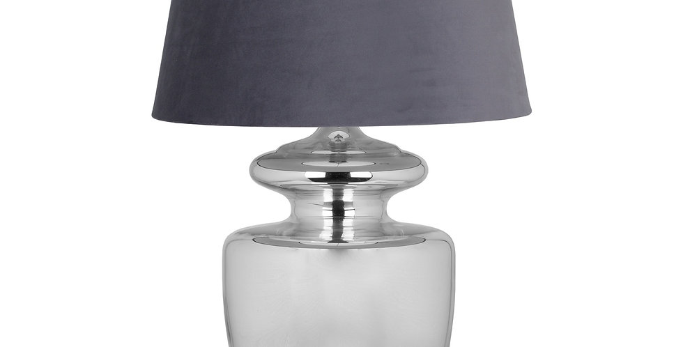 silver based lamp with grey lampshade