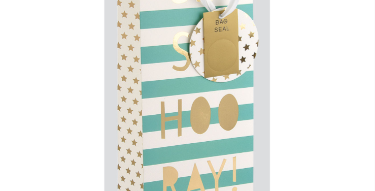 Mint green and white striped bottle bag with gold gift tag and wording saying Sip Sip Hooray