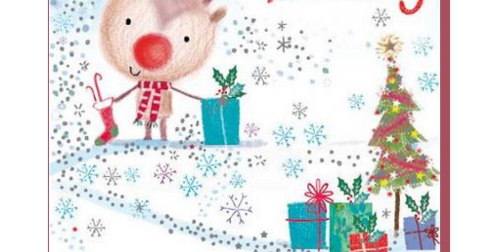 Cute cartoon reindeer with gifts and words saying To a great Daddy with love at Christmas
