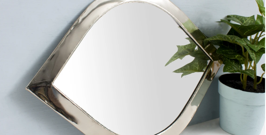 white brass mirror made by moroccan artisans