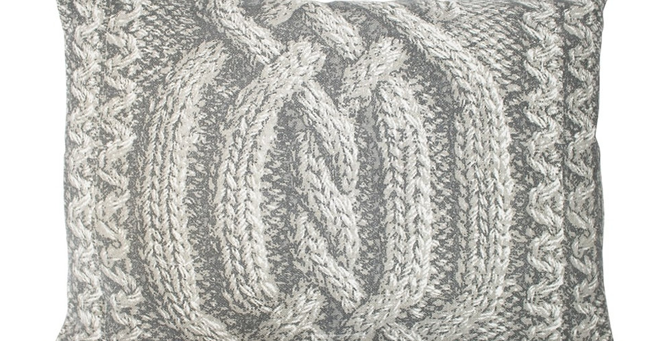 Pale grey cushion with knitted look. Rectangular.