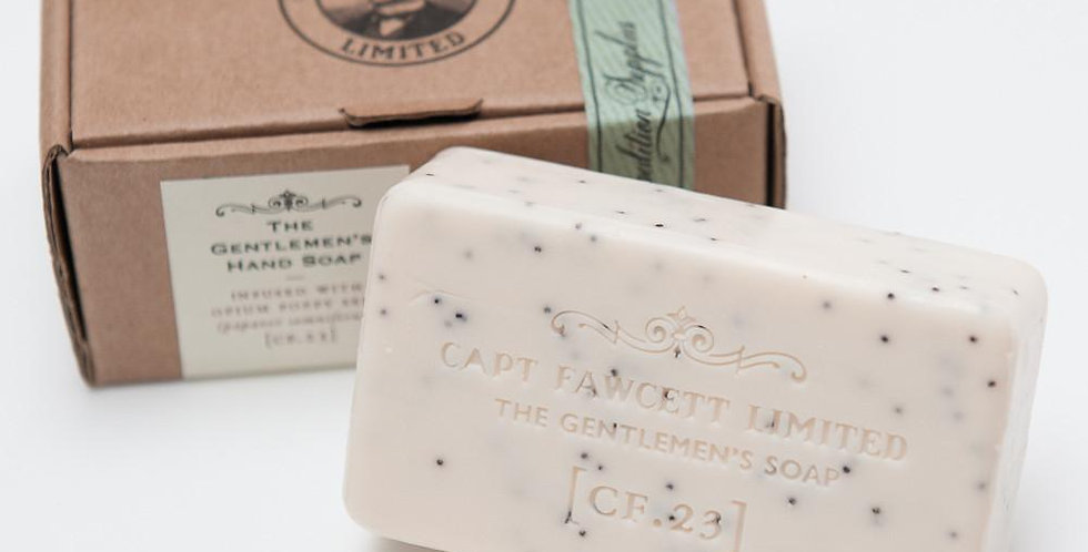 elegantly scented Gentlemen's Soap with added Papaver somniferum (opium) poppy seeds to lightly exfoliate the skin
