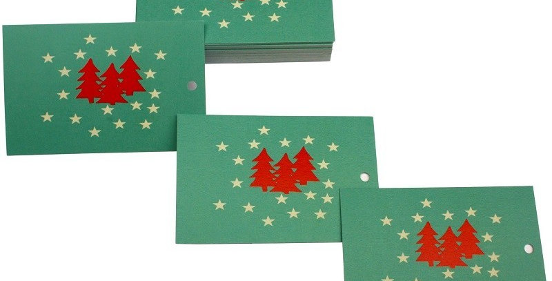 Christmas gift tag with mid green background, red christmas trees and white stars. Matches Christmas Tree wrapping paper..