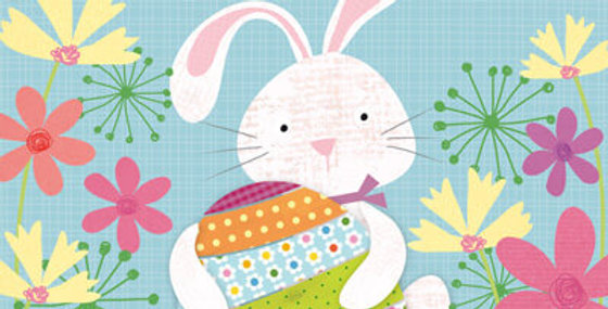 Cute Easter card featuring bunny holding an easter egg surrounded by spring flowers. Words Happy Easter.