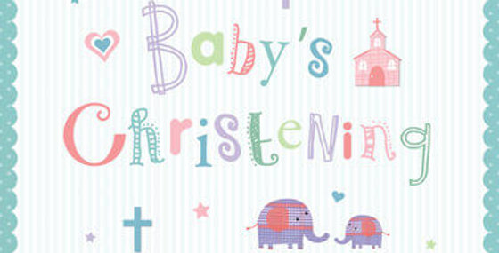 Cute Christening card with pretty green scalloped edging with crosses and elephants with wording Baby's Christening