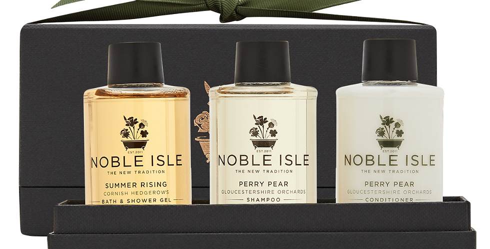 three luxury travel sizes of Summer Rising Bath & Shower Gel and Perry Pear Shampoo and Conditioner.