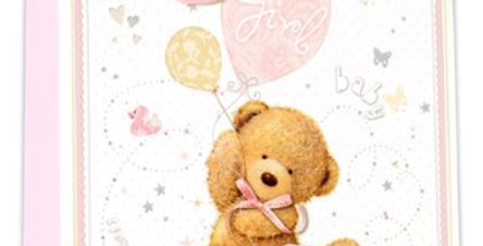 New baby girl gift bag with cute teddy bear , pink balloons, kites and bunting