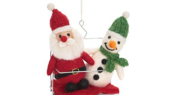 Santa & Snowman in Ski Chair Lift