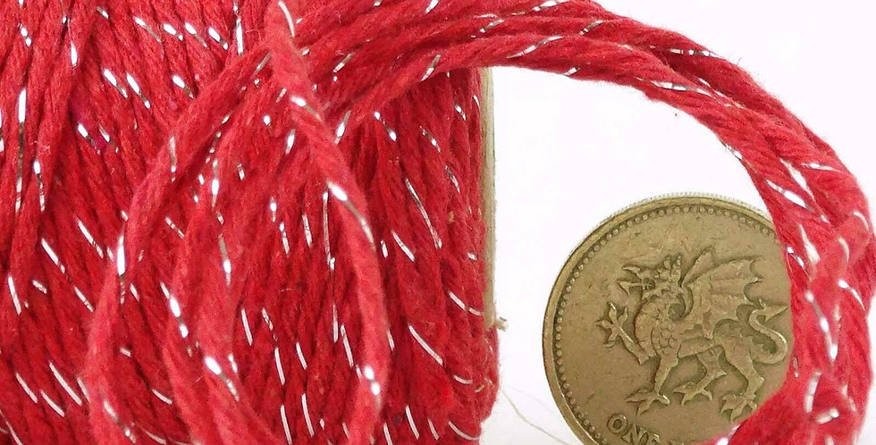 Red & Silver 12ply Cotton Bakers Twine 10m