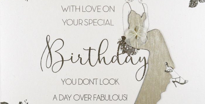 Special Birthday Card with cream background and gold foil picture of women sitting in garden in an evening dress