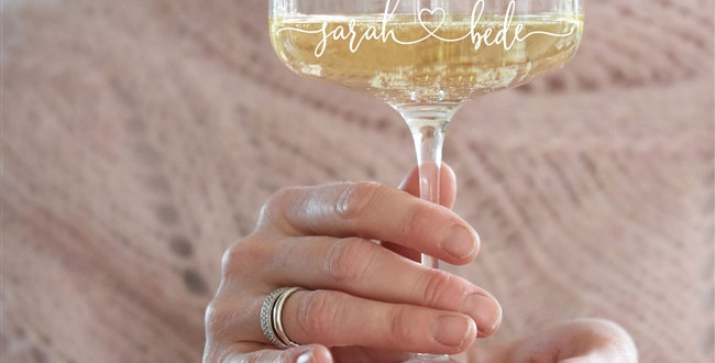 Couples Heart Crystal Champagne Coupe Glass
