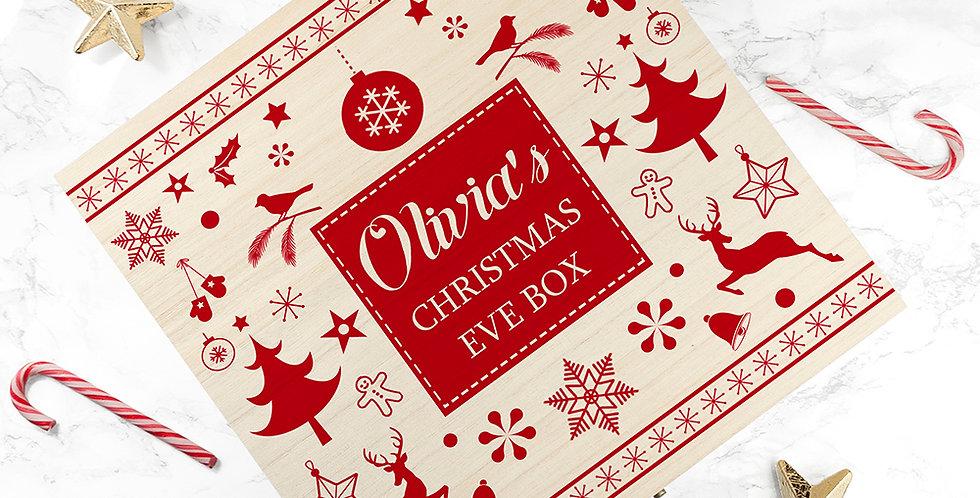 personalised scandi style wooden christmas eve box