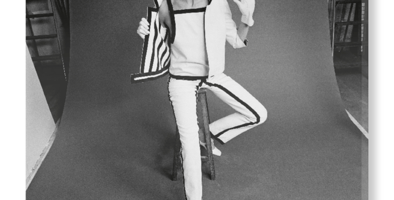 'Stop!' - Hand Stretched Canvas from V&A Featuring Model in André Courréges trouser suit, Photographed byJohn French