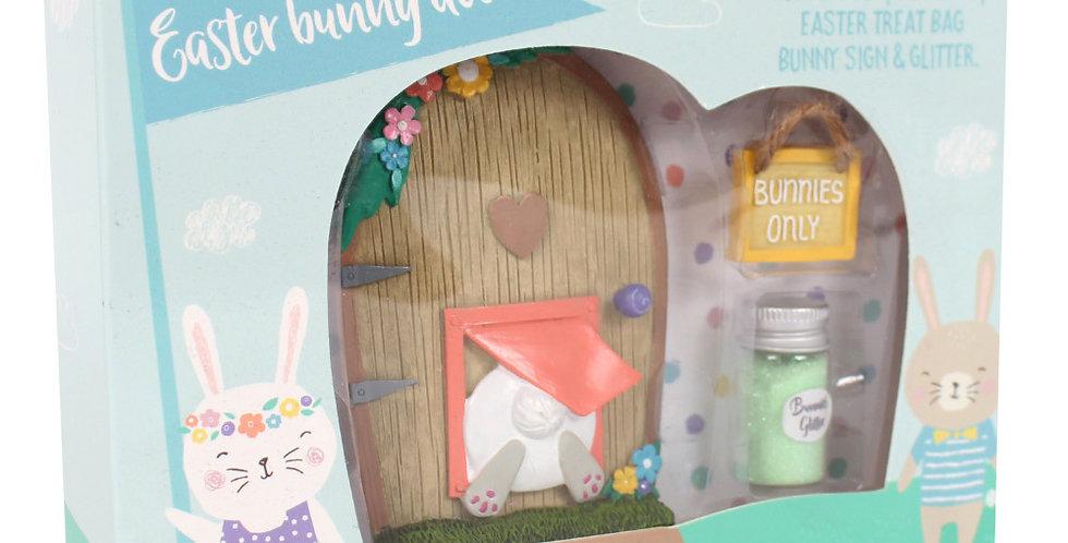 Adorable Easter Bunny Door Craft Kit In Box. Contains Door, Doormat, Treat Bag, Sign and Glitter