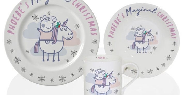 peppa pig magical unicorn personalised dining set