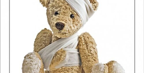 Photo of a bandaged teddy bear with words get well