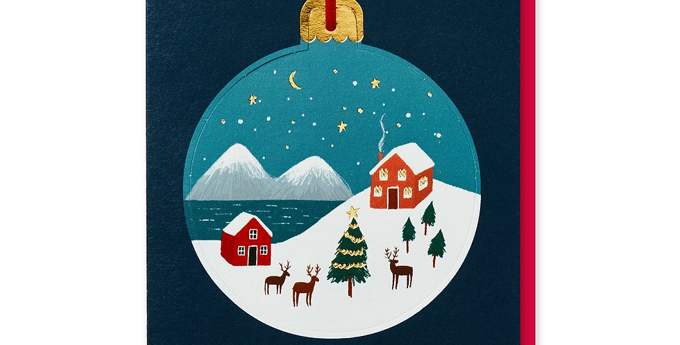 pop out bauble christmas card navy background with bauble snowy village scene wording merry christmas