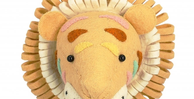 Natural Pastel Mini Cream Tiger Head