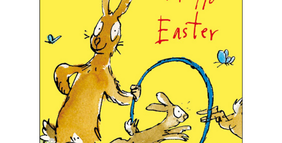 Easter card with cartoon bunny holding hula hoop that other smaller bunnies are jumping through