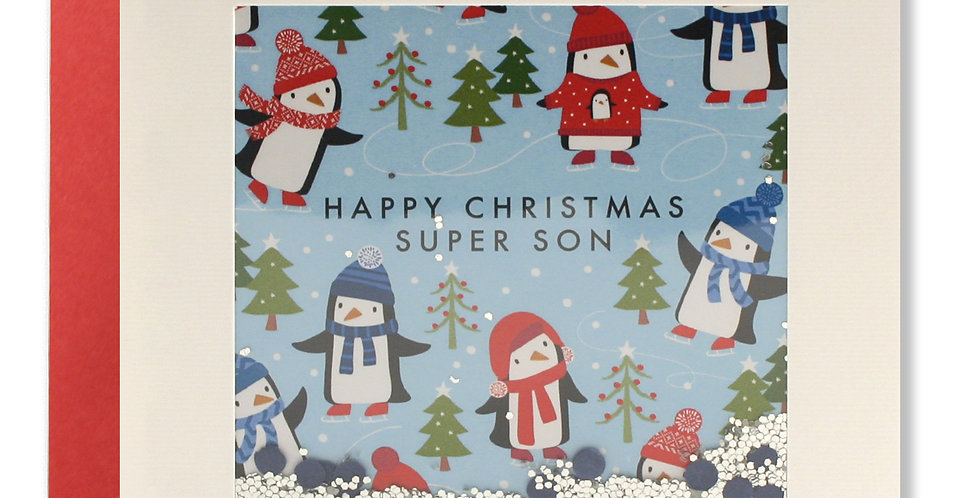 Son christmas card with cartoon penguins and christmas trees, shakie confetti and words Happy christmas super son