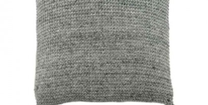 Knitted grey square cushion with grey tassels to each corner