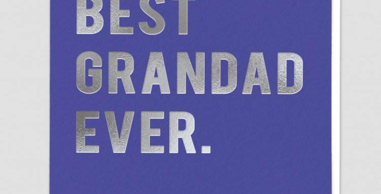 Purply blue card saying best grandad ever in silver writing