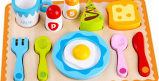 Colourful wooden breakfast set with tray. cutlery, egg and condiments