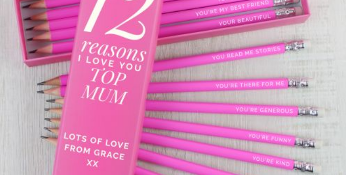 Personalised 12 Reasons Box and 12 Pink HB Pencils