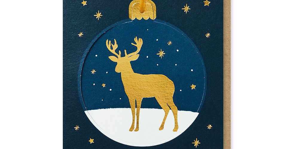 Golden Deer Bauble Card