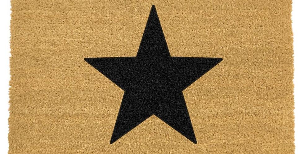 coir doormat with black star