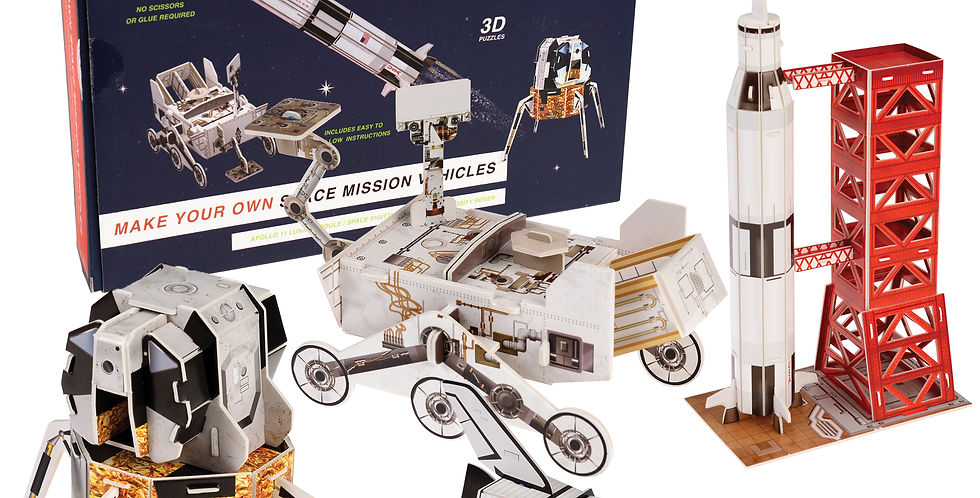 A Make Your Own Space Mission Vehicles set, perfect for would-be astronauts & modellers. 4 3D space vehicles to complete