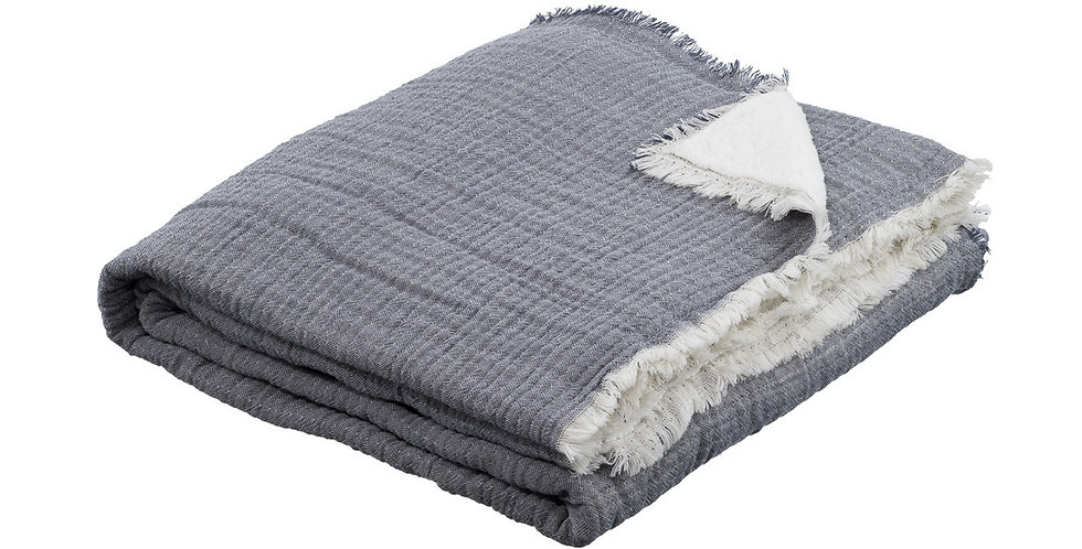 Denim coloured and sherpa lined blanket