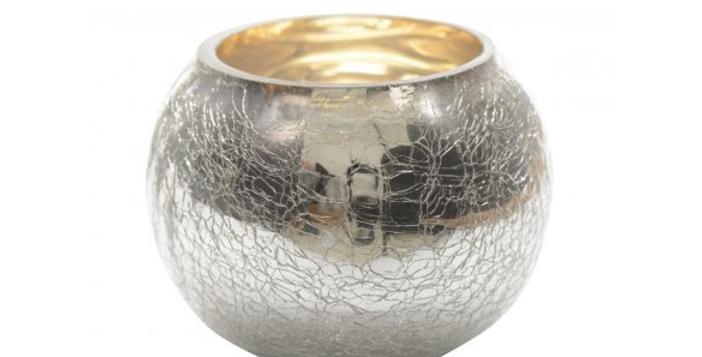 silver crackle effect tealight holder