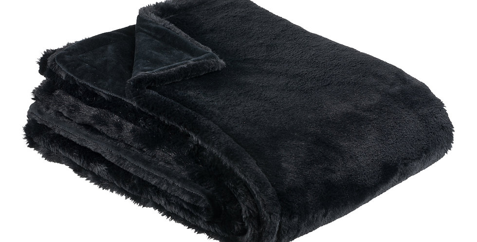 Black faux rabbit fur blanket. A velvet soft blanket.