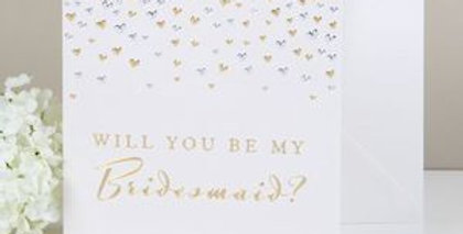bridesmaid invitation white card with gold and silver sprinkles to top and wording will you be my bridesmaid