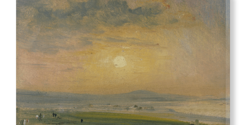 V&A Print on Hand-Stretched Canvas- 'Coast Scene At Brighton; Evening' By John Constable; Warm Toned Seascape Painting