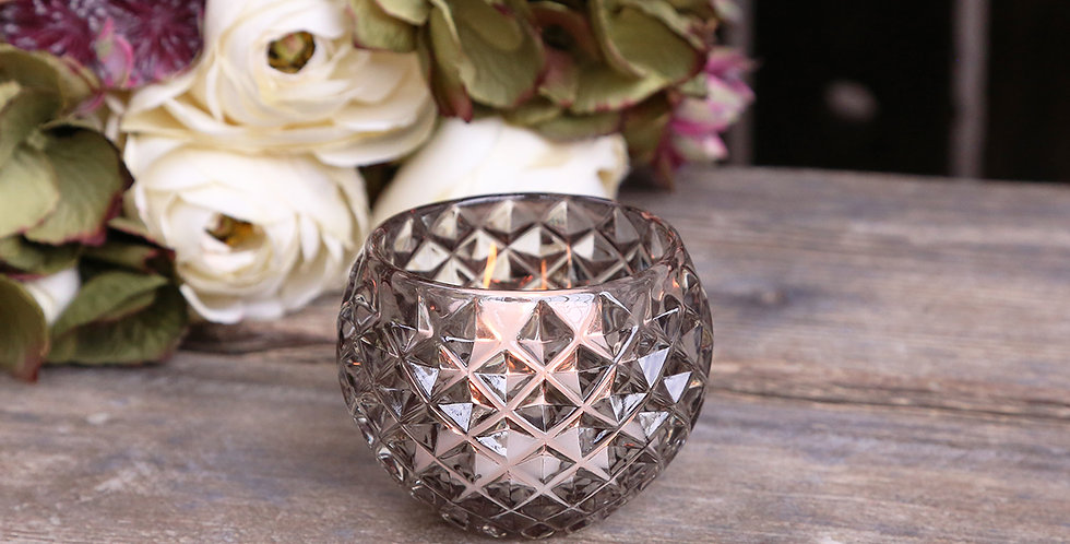 Small tealight holder in grey glass with diamond effect cut