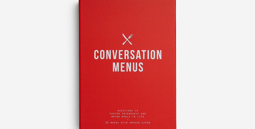 20 Menus with 12 questions per menu, across varying themes - to foster friendship and bring meals to life