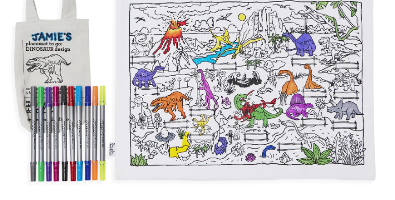 Dinosaur Colour In Placemats - perfect for keeping the kids entertained