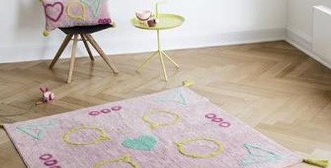 Square pale pink rug with embroidered icons of instagram icons perfect for a tween or teenager's room