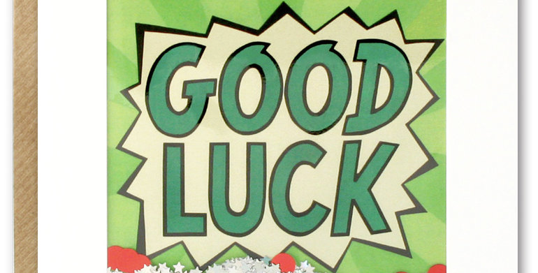 Good luck shakie confetti card with cartoon kapow style good luck message