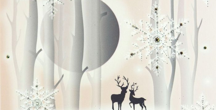 Forest scene with moon, snowflakes and silhouetted pair of reindeer with words To my daring wife with love at Christmas