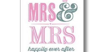 wedding day card pink and grey writing mrs & mrs happily ever after