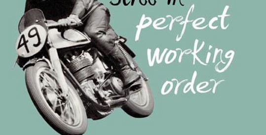 Funny birthday with vintage motorbike rider saying still in perfect working order